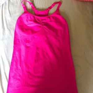 Pink workout top with built in bra